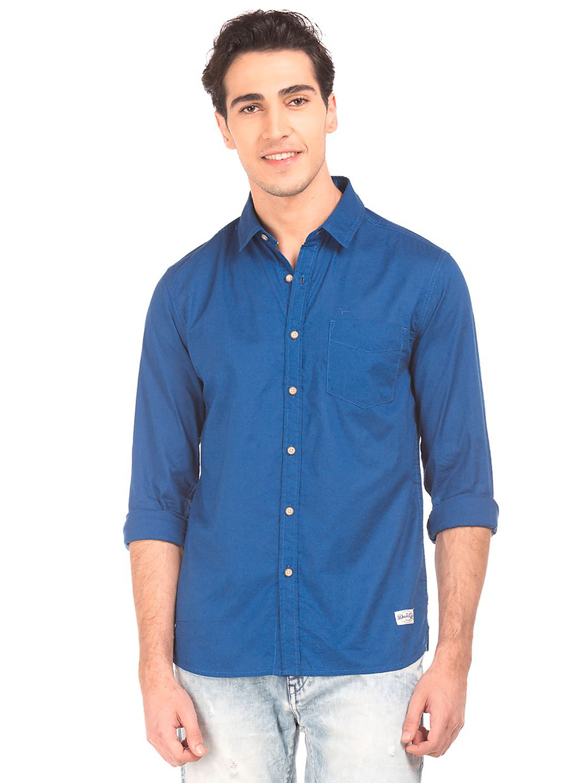 Flying Machine blue plain casual shirt - G3-MCS5012 ...