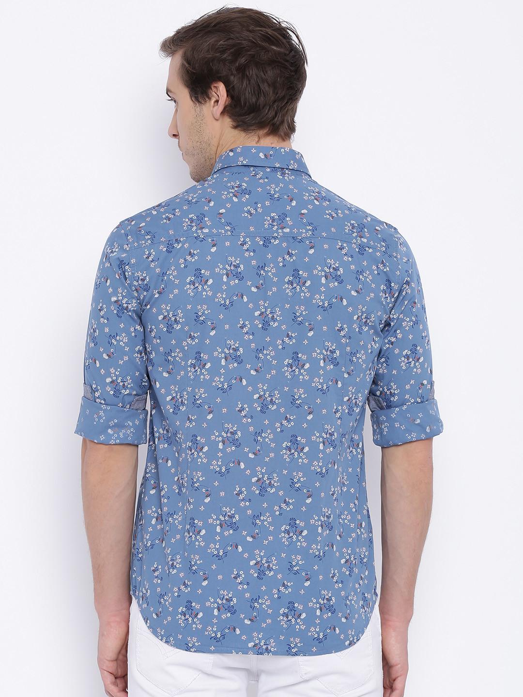 Flying machine cotton blue printed shirt g3 mcs3496 for Machine to print shirts