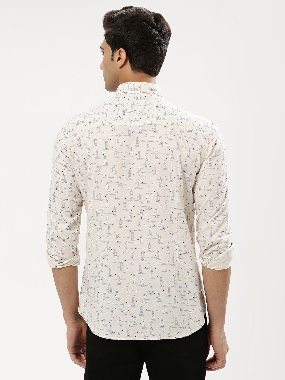 Flying machine white printed shirt g3 mcs3986 for Machine to print shirts