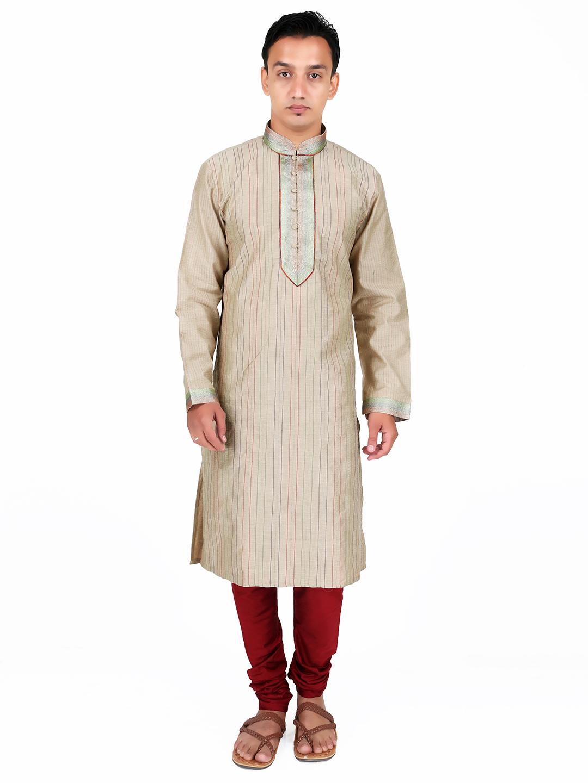 G3 Exclusive Beige Designer Cotton Silk Festive Men Kurta