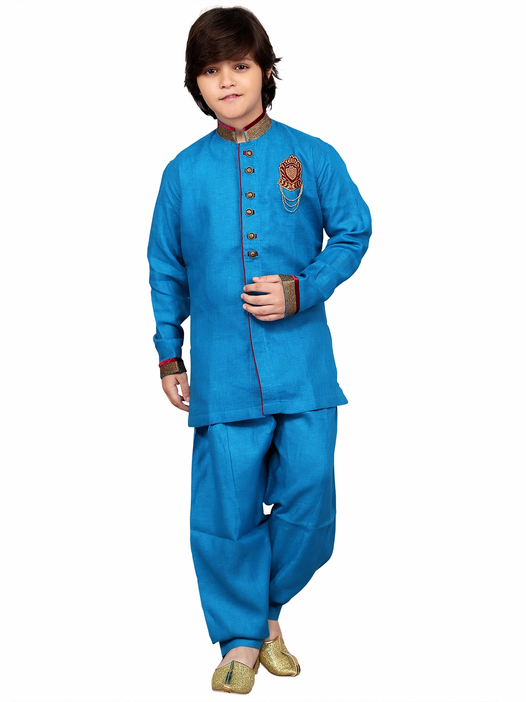 G3 Exclusive blue solid wedding wear cotton pathani suit - G3 ...