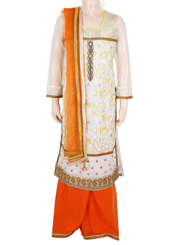G3 Exclusive Designer Beige Net Girls Palazzo Salwar Suit