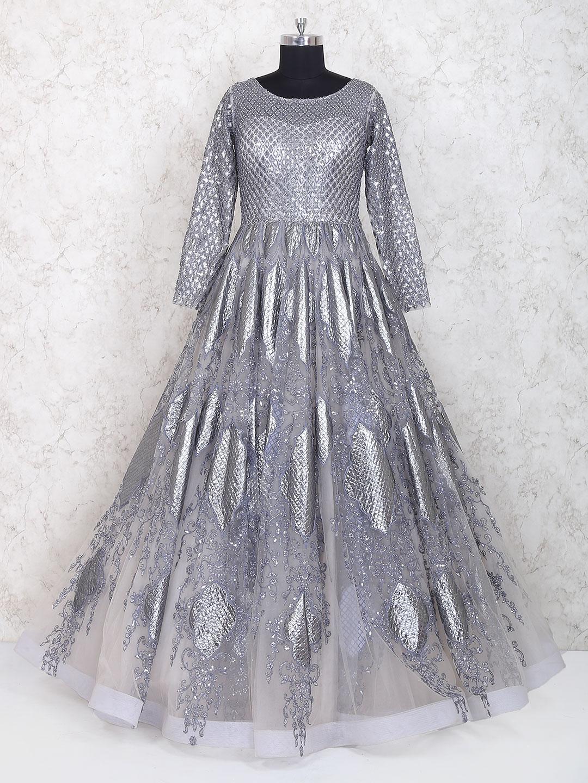 2fa6b901493 Grey net fabric party wear designer gown - G3-WGO1316