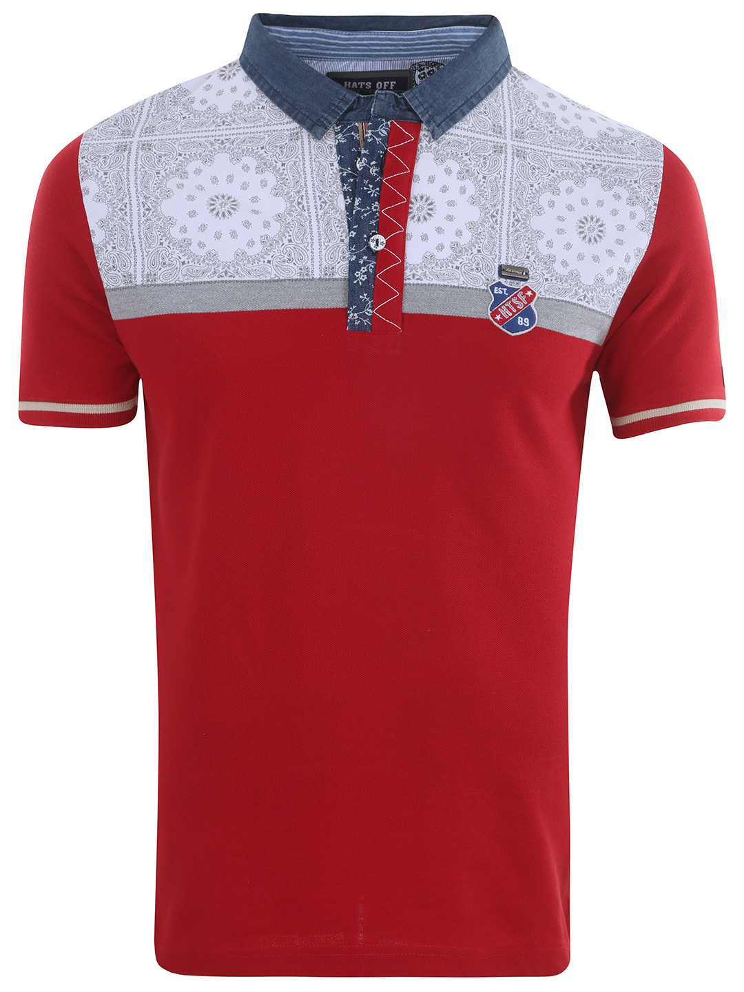 Hats Off Plain Printed White And Red Slim Fit Casual Wear