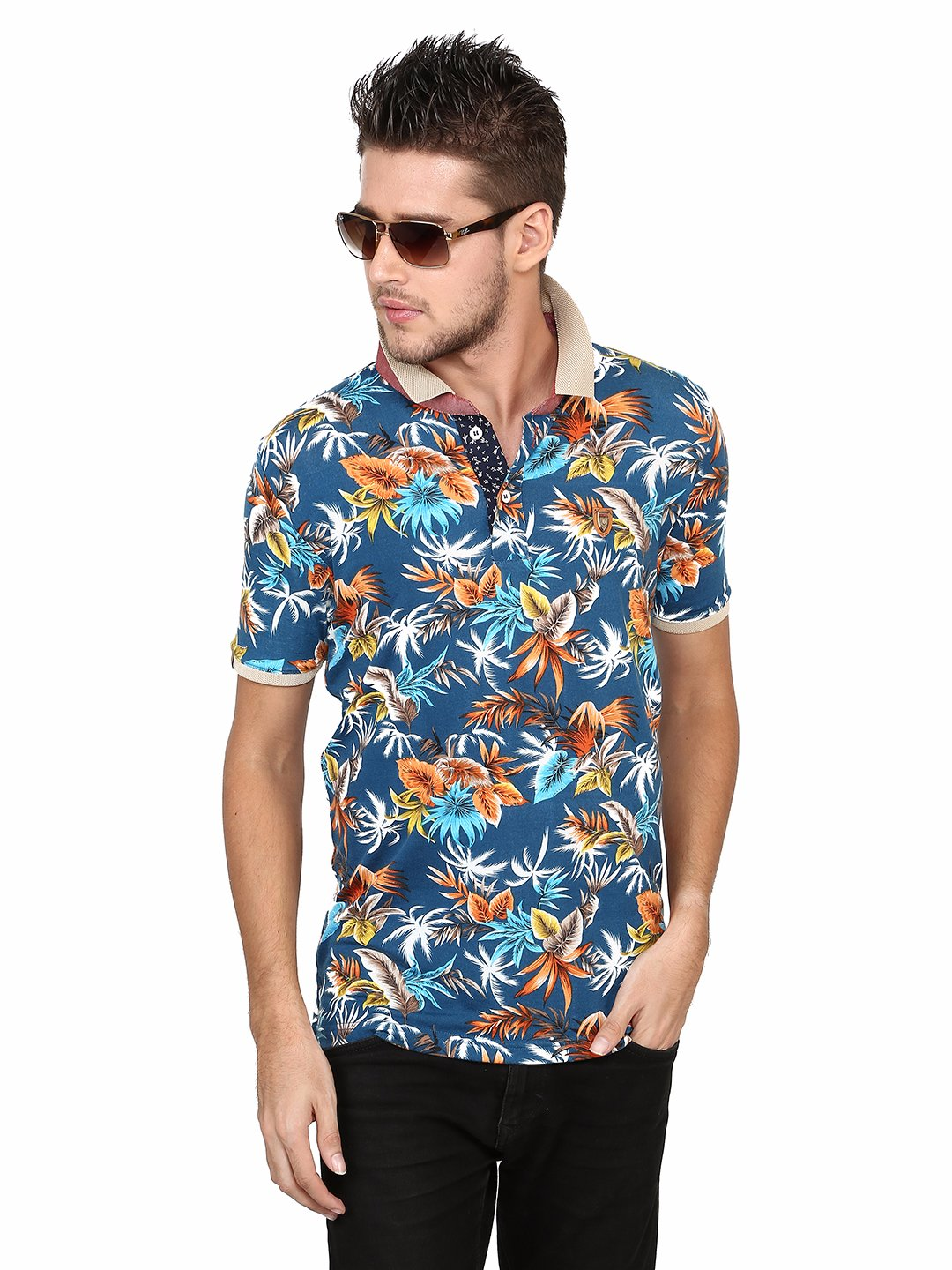 Hats Off Printed Casual Wear Blue T Shirt G3 Mts4916