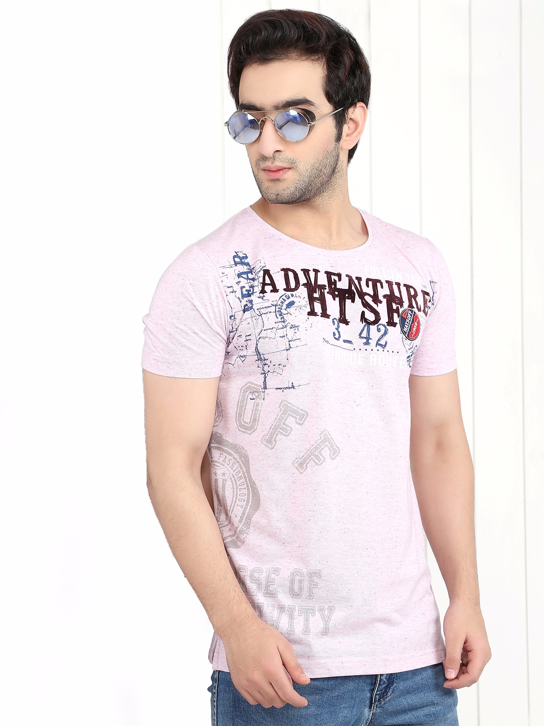 Hats Off Printed Pink Cotton Slim Fit T Shirt G3 Mts4652