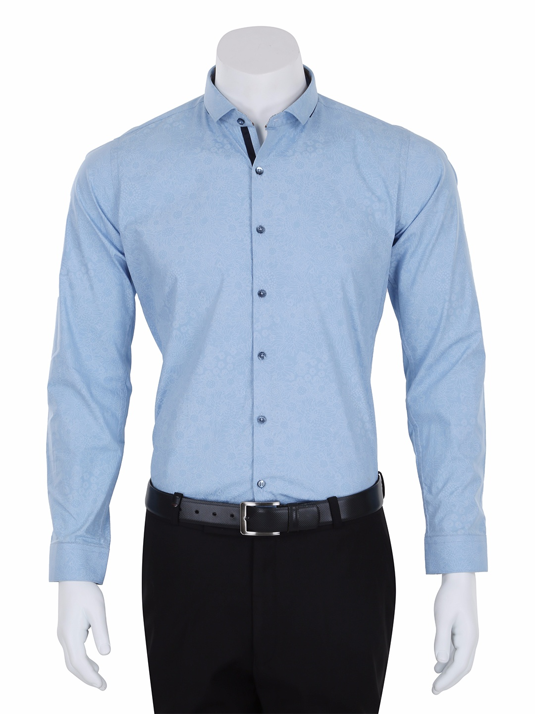 I party printed sky blue cotton slim fit men party wear shirt - G3 ...