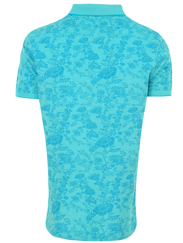 Indian Terrain Aqua Blue Regular Fit Printed Casual Wear