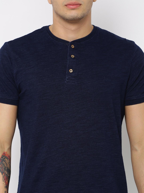 Indian terrain navy cotton mens plain casual wear slim fit for Navy slim fit shirt