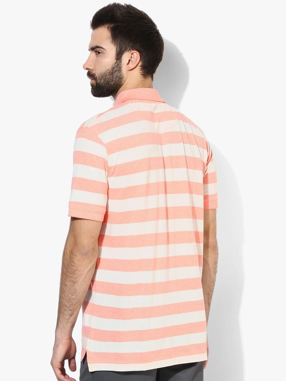 Indian terrain peach white cotton slim fit t shirt g3 for Slim fit cotton shirts