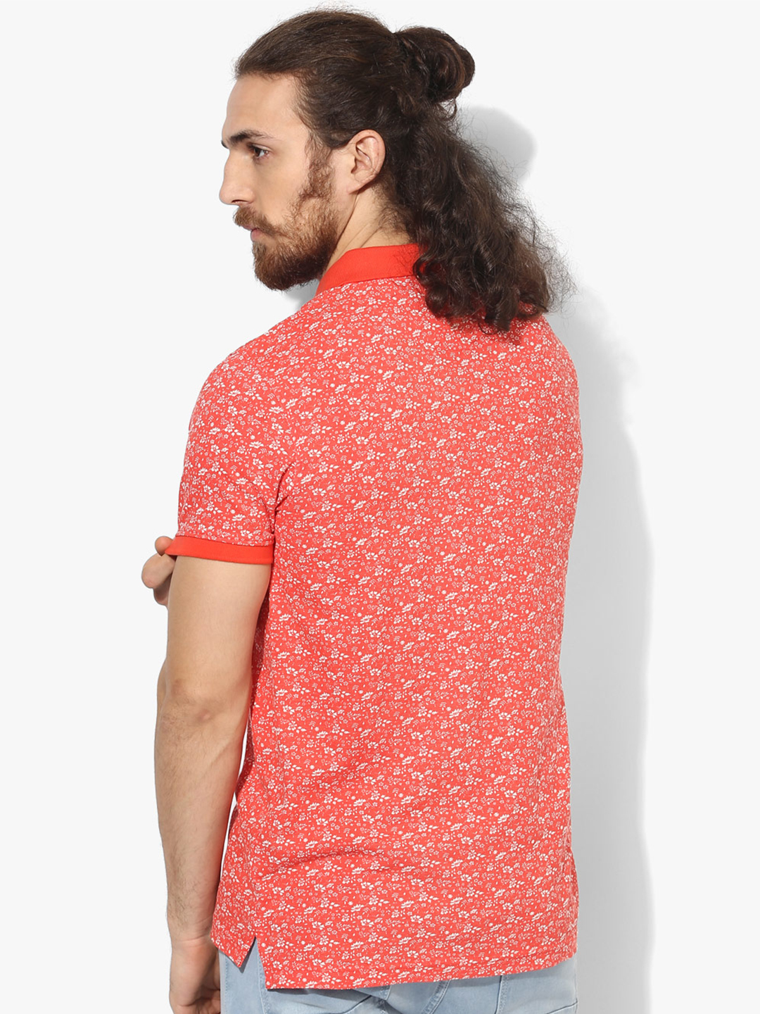Indian terrain printed cotton orange t shirt g3 mts4732 for Printed t shirts india