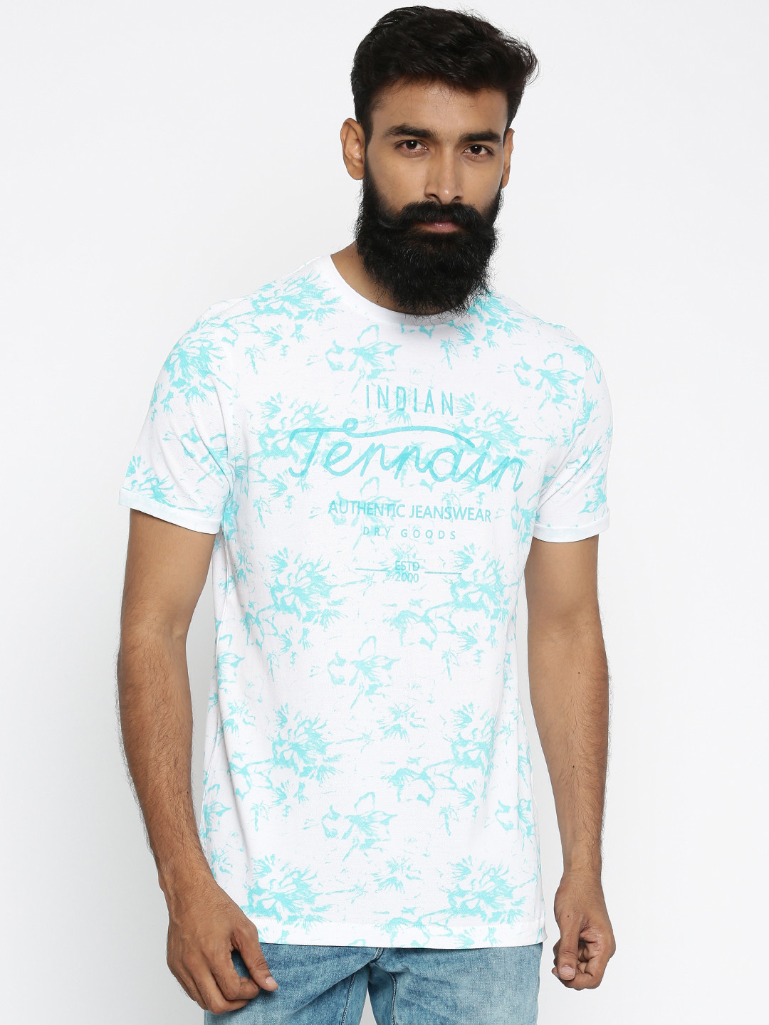 Indian terrain printed white t shirt g3 mts4710 for Printed t shirts india
