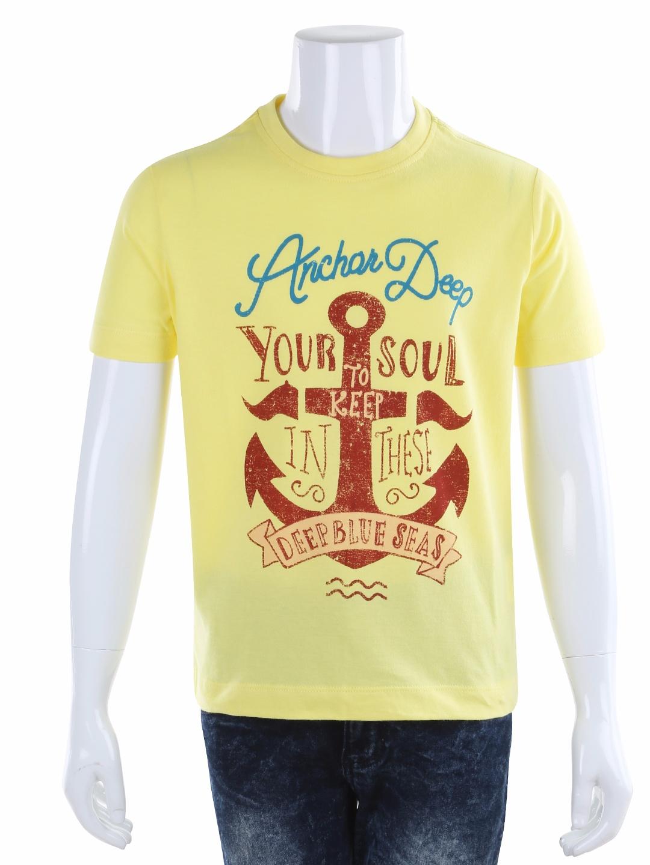 Indian Terrain Printed Yellow Cotton Casual Boys T Shirt