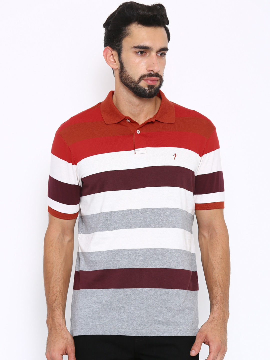 Indian terrain slim fit red white t shirt g3 mts4090 for Slim fit white t shirt