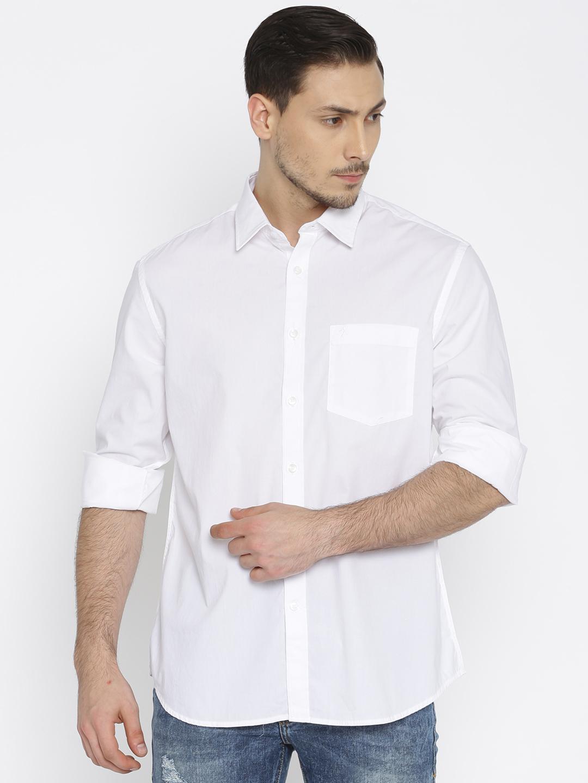 Indian Terrain White Solid Slim Fit Shirt G3 Mcs3573