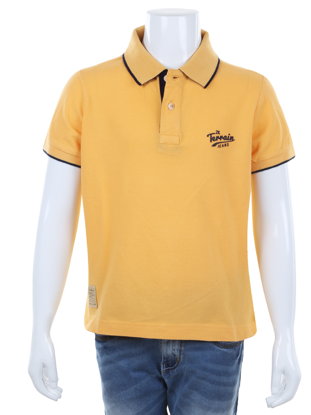 Indian terrain yellow plain cotton casual polo t shirt for Polo t shirts india