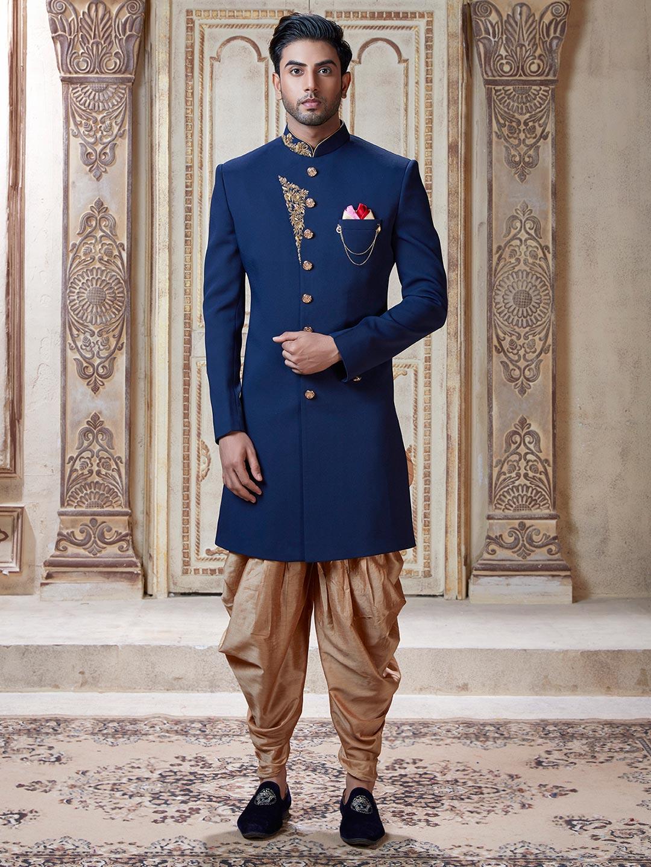 Indo western mens wear in blue terry