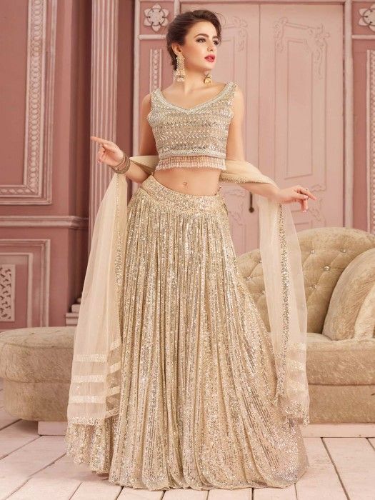 Beige Net Lehenga Wedding Wear Choli