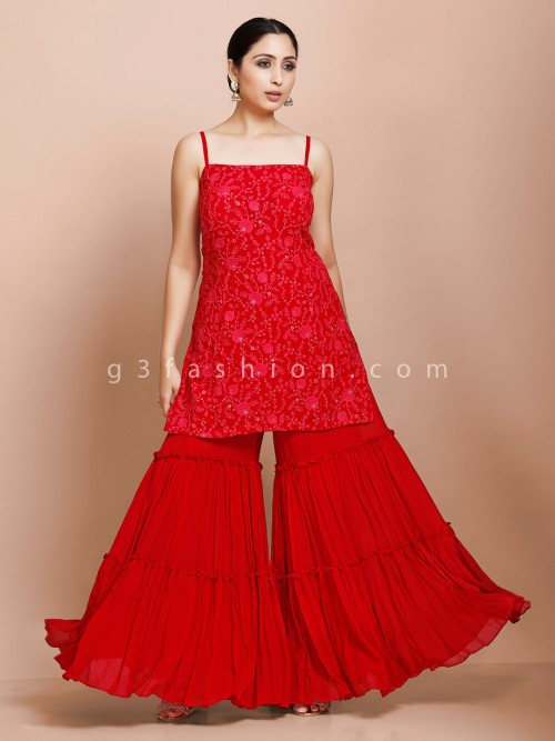 Beautiful Red Kurti And Palazzo In Georgette For Festive