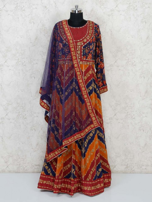 Multi Colour Gown For Wedding In Georgette