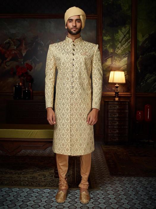 Raw Silk Wedding Cream Sherwani