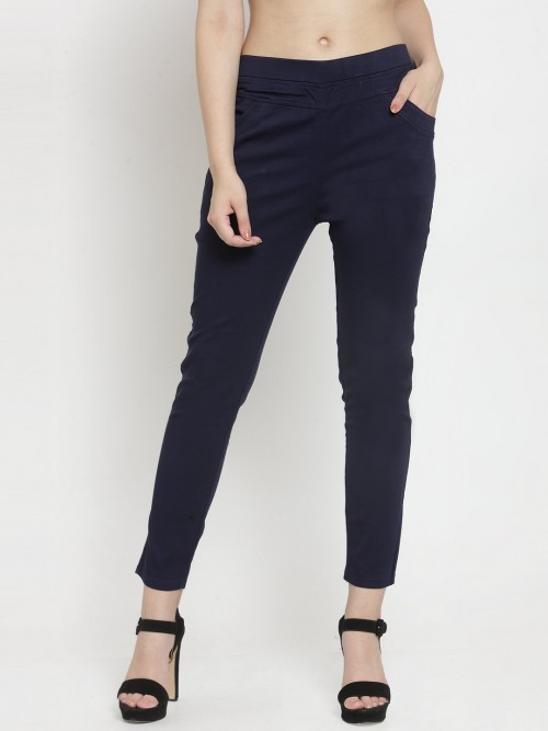 Solid Navy Cotton Jeggings For Womens