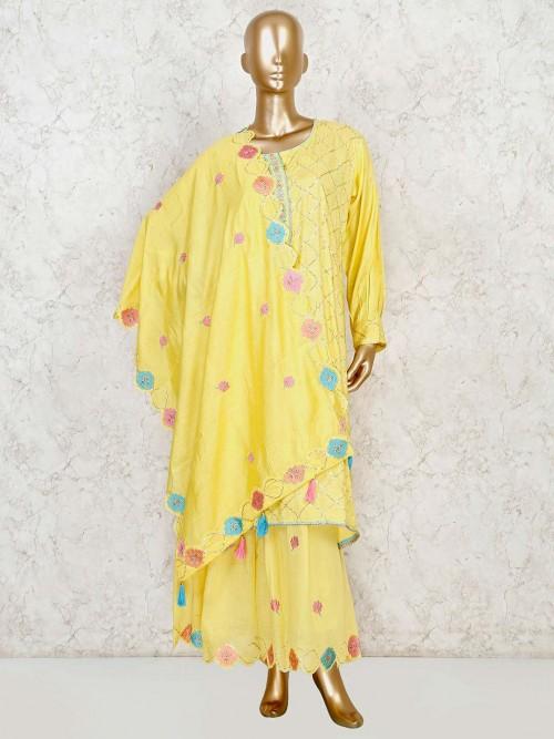 Yellow Kurti With Flared Sharara In Cotton Silk