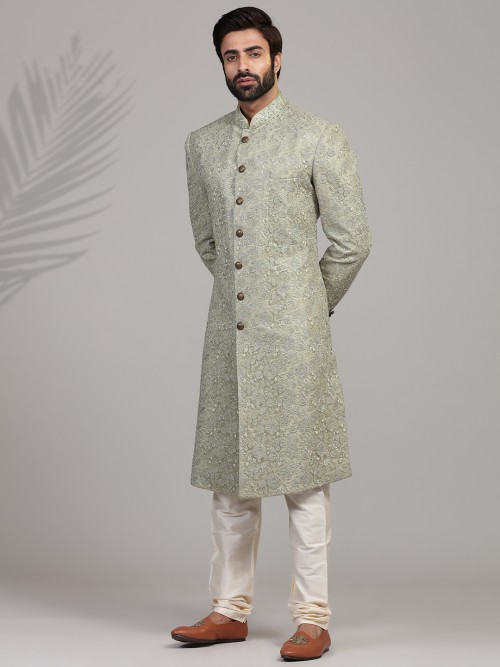 A Royal Green Sherwani For Groom
