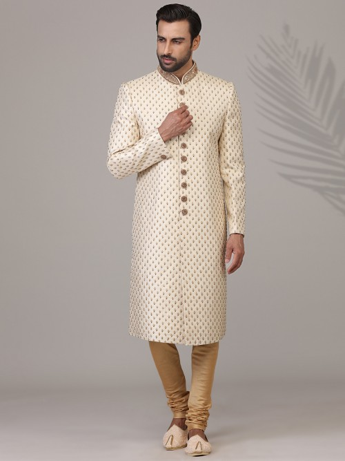 Adorable Cream Silk Sherwani Set