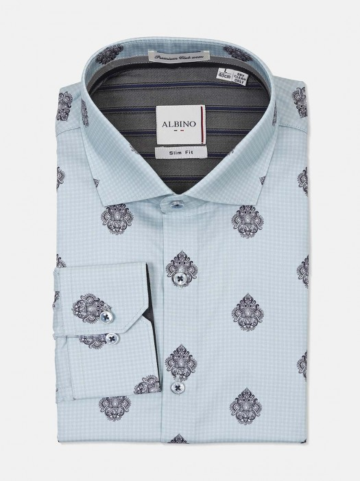 Albino Aqua Printed Party Wear Shirt