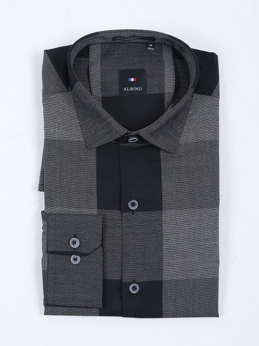 Albino Grey Checks Slim Fit Shirt