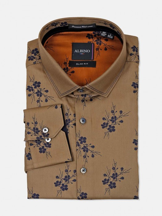 Albino Mens Brown Printed Shirt