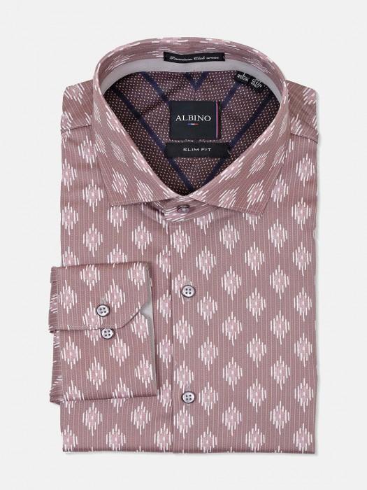 Albino Presented Brown Printed Shirt