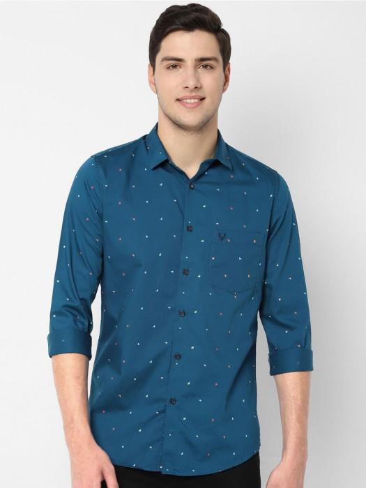 Allen Solly Blue Printed Cotton Shirt