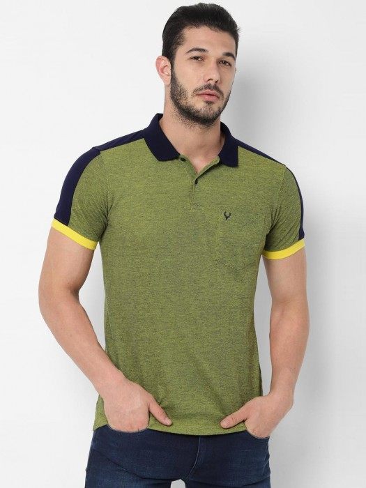 Allen Solly Green Patch Pocket Solid T-shirt