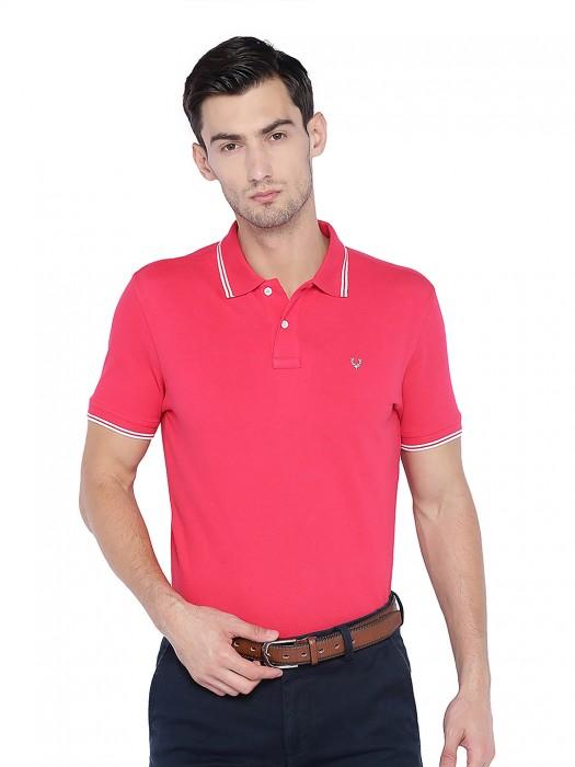 Allen Solly Magenta Hue Solid Mens T-shirt