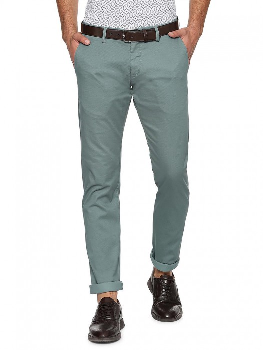 Allen Solly Mens Olive Color Solid Trouser