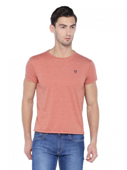 Allen Solly Orange Solid Cotton T-shirt