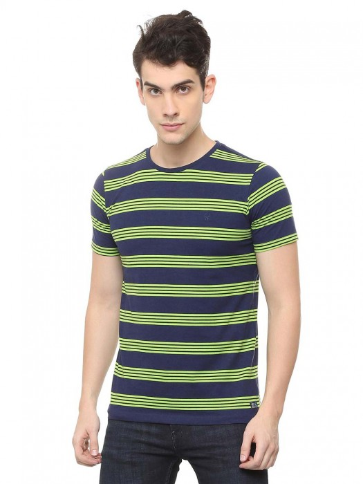 Allen Solly Parrot Green And Navy Stripe T-shirt