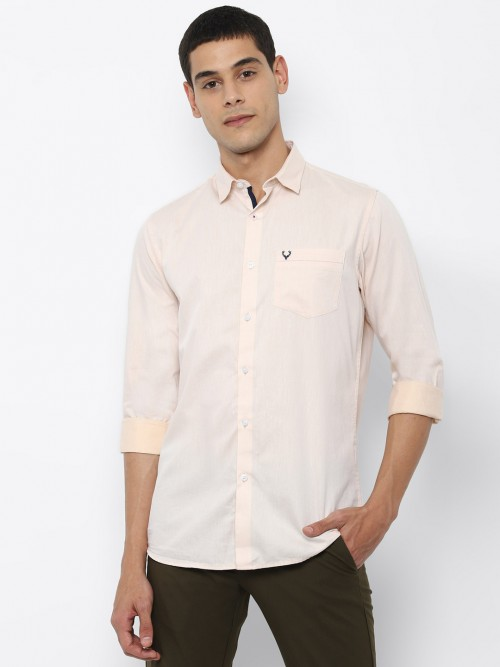 Allen Solly Peach Solid Cotton Shirt
