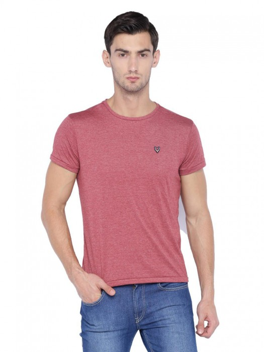 Allen Solly Pink Solid Slim Fit T-shirt