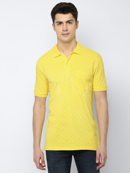 Allen Solly Printed Yellow Cotton T-shirt