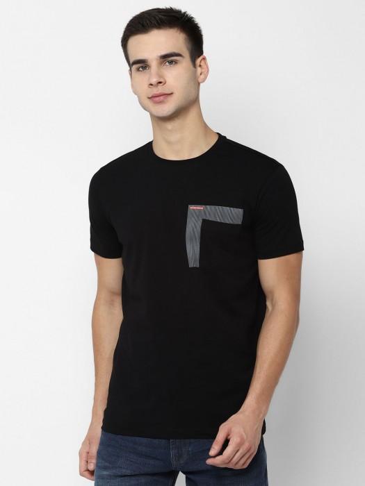 Allen Solly Solid Black Cotton T-shirt