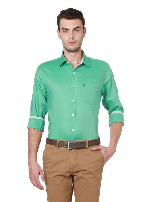 Allen Solly Solid Parrot Green Shirt