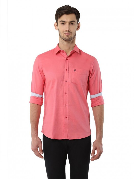 Allen Solly Solid Pink Casual Wear Shirt