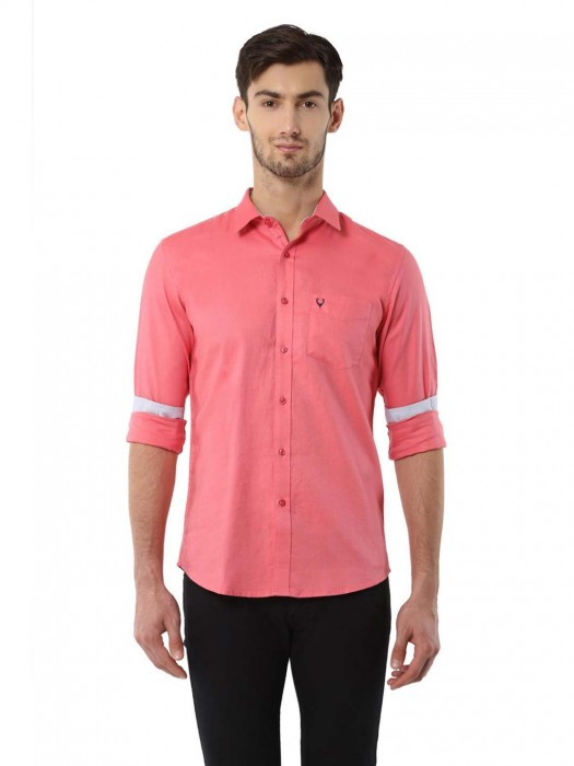 Allen Solly Solid Pink Cotton Shirt