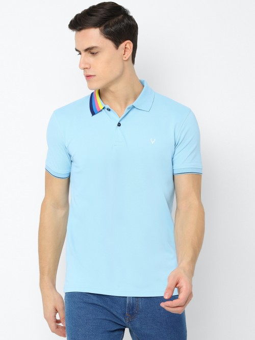 Allen Solly Solid Sky Blue Polo T-shirt