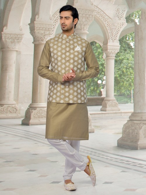 Alluring Olive Cotton Silk Waistcoat