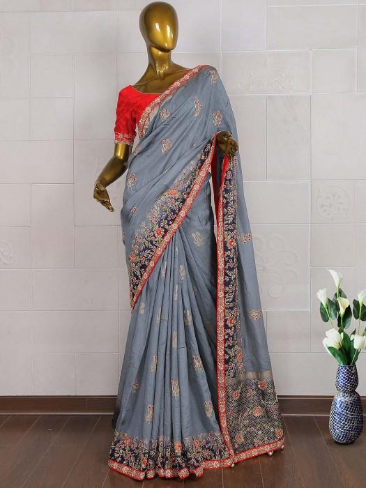 Amazing Grey Silk Wedding Saree