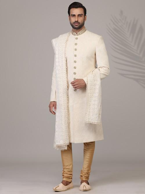 Amazing Silk Sherwani In Cream For Wedding